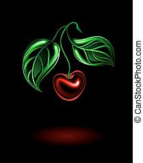 glowing red cherries with green leaves on a black background