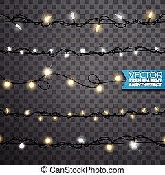 Christmas Lights Banner Glowing Lights For Xmas Holiday Greeting