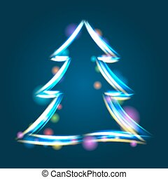 Glowing Christmas tree illustration