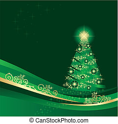 Glowing Christmas tree in a beautiful green and gold winter garden vector illustration