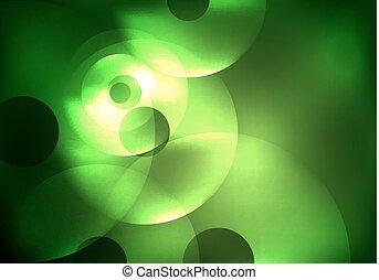 Glowing circles in the dark