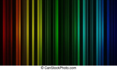 Glowing colorful vertical lines rotate. Abstract 3D render