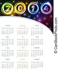 Glowing colors calendar for 2014