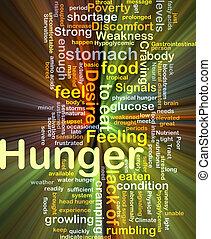 glowing, conceito, fundo, fome