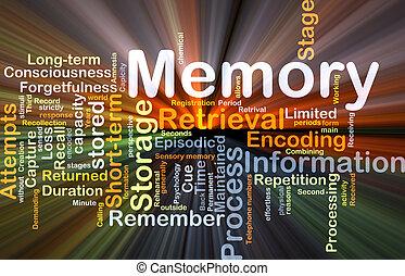 glowing, conceito, fundo, memória