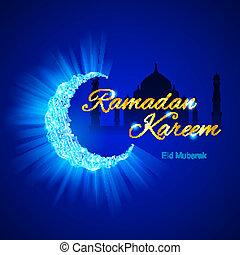 Greeting card of holy Muslim month Ramadan - Glowing...