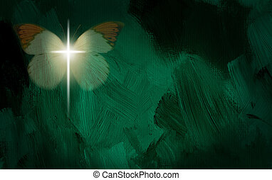 Glowing cross and butterfly wings