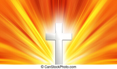 Glowing cross - Religious background