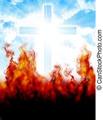 glowing cross in sky