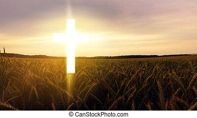Glowing cross in sky . Happy Easter. Light from sky