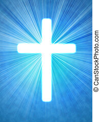glowing cross on a blue background, with radial rays of light