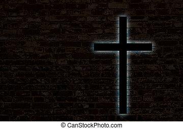 Glowing cross on a brick wall