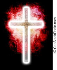 glowing cross on red background