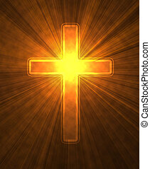 glowing cross on a black background, with radial rays of...