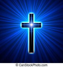 glowing cross  - back glowing cross over blue light rays