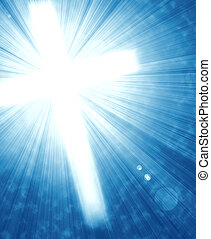 glowing cross with radial rays of light