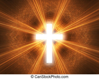 Glowing cross, with radial rays of light.