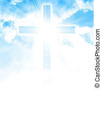 glowing, crucifixos, em, céu