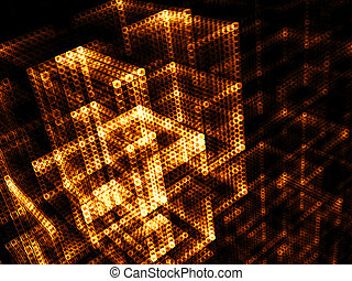 Glowing cubes - abstract digitally generated image