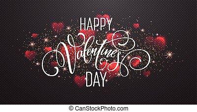glowing, de, cintilante, vermelho, corações, ligado, transparente, experiência., realístico, partícula, brilhar, effect., valentines, day., caligrafia, e, lettering., vetorial, ilustração