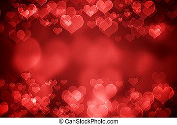 glowing, dia valentine, fundo, vermelho