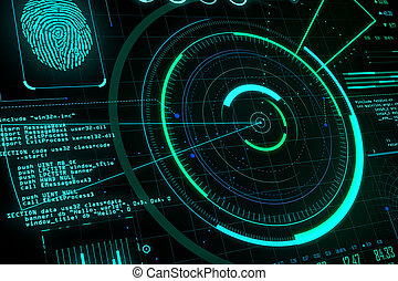 Glowing digital communication and security interface.