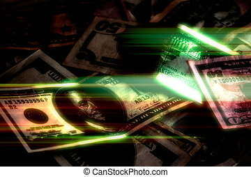 glowing, dinheiro, fundo