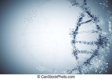 Glowing DNA background - Abstract glowing polygonal DNA...