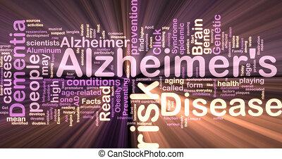 glowing, doença, wordcloud, alzheimer\'s