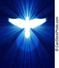 glowing dove against blue rays