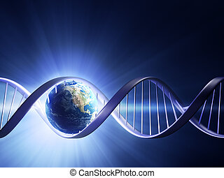 Glowing earth DNA strand - Abstract render of earth inside a...