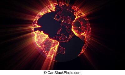 glowing earth spinning seamless loop