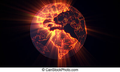 glowing earth worldwide web concept