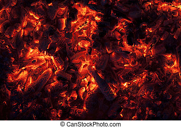 Glowing embers in hot red color - Full frame shot of glowing...