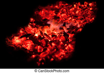 Glowing embers with flying sparks