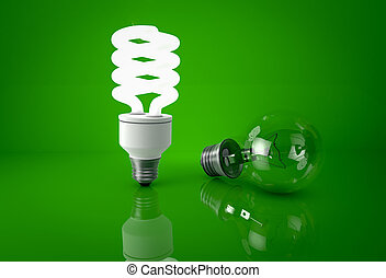 Glowing energy saving bulb and dark incandescent bulb over green background