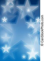 glowing, estrelas, sobre, experiência azul