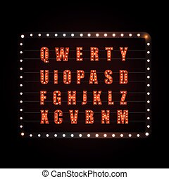 Glowing festive letters collection. Vector design elements
