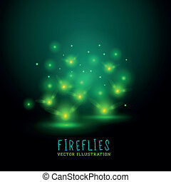 Glowing Flireflies - Glowing Fireflies. A group of glowing...