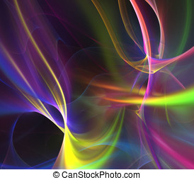 Glowing Flow Abstract - Abstract Background - Glowing fiber...
