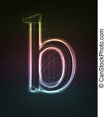 Glowing font. Shiny letter b.