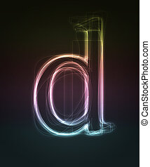 Glowing font. Shiny letter d.