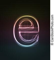 Glowing font. Shiny letter e.