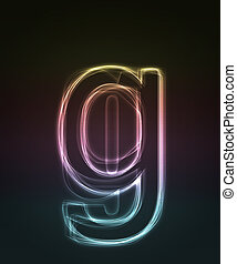 Glowing font. Shiny letter g.