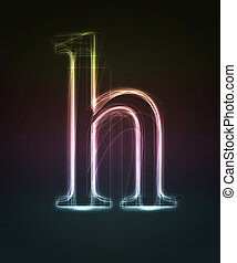 Glowing font. Shiny letter h.