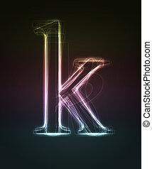 Glowing font. Shiny letter k.