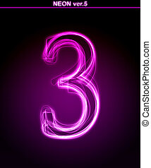 Glowing font. Shiny number 3