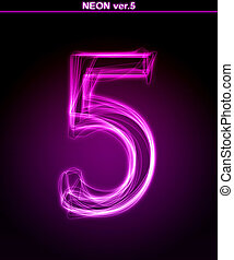Glowing font. Shiny number 5