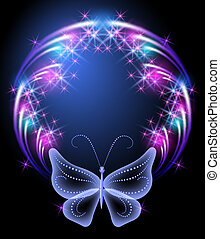 Glowing frame and transparent butterfly