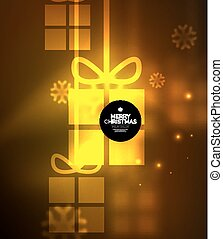 Glowing gift boxes with snowflakes, Christmas and New Year template